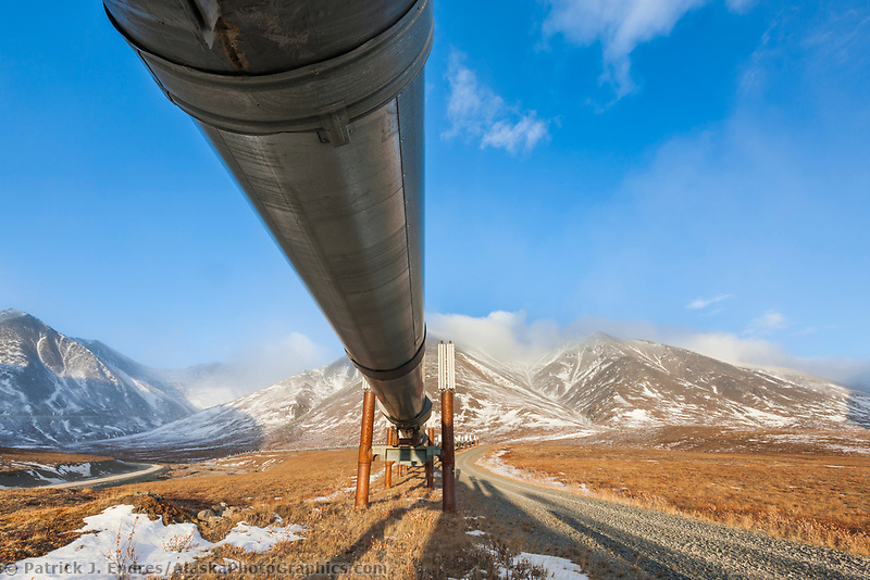 Trans Alaska oil pipeline on the south side of Atigun pass of the Brooks range, arctic Alaska.
