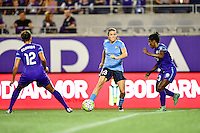 Orlando, FL - Saturday September 10, 2016: Kristen Edmonds, Kelley O'Hara, Jasmyne Spencer during a regular season National Women's Soccer League (NWSL) match between the Orlando Pride and Sky Blue FC at Camping World Stadium.