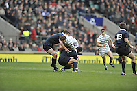 Twickenham, GREAT BRITAIN,   Cambridges' Danny HOLMES tackled in midfield during the 2012 Varsity Rugby match.  Oxford vs Cambridge, at the RFU Stadium, Twickenham, Surrey. on Thursday  06/12/2012...[Mandatory Credit; Peter Spurrier/Intersport-images]
