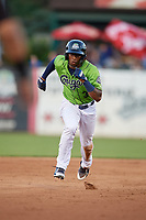 Kane County Cougars Tra Holmes (3) running the bases during a Midwest League game against the Dayton Dragons on July 20, 2019 at Northwestern Medicine Field in Geneva, Illinois.  Dayton defeated Kane County 1-0.  (Mike Janes/Four Seam Images)
