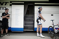 Marcel Kittel (DEU/Giant-Shimano) just left the teambus to go to work.<br /> Stage 15 is suited for the sprinters, so the big German is also the big favorite for the stage.<br /> <br /> 2014 Tour de France<br /> stage 15: Tallard - Nîmes (222km)
