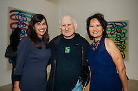 Eva Chimeto, Peter Frank, and Winnie Lam at LAM Gallery Presents Monique Prieto: Hat Dance (Photo by Tiffany Chien/Guest of a Guest)