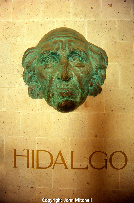 Bronze sculpture of Mexican independence leader Miguel Hidalgo in the Alhondiga de Granaditas in the city of Guanajuato, Mexico. This former granary and fortress is now a history and art museum.