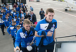 FK Trakai v St Johnstone&hellip;05.07.17&hellip; Europa League 1st Qualifying Round 2nd Leg<br />St Johnstone midfielders Blair Alston and David Wotherspoon board the aircraft for the flight to Vilnius in Lithuania<br />Picture by Graeme Hart.<br />Copyright Perthshire Picture Agency<br />Tel: 01738 623350  Mobile: 07990 594431