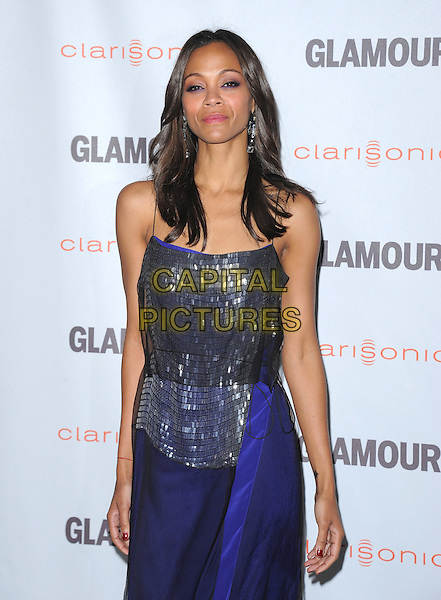 Zoe Saldana.The Glamour Reel Moments held at The Directors Guild of America in West Hollywood, California, USA..October 24th, 2011.half length silver dress purple black sheer blue grey gray paillettes  .CAP/RKE/DVS.©DVS/RockinExposures/Capital Pictures.