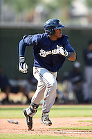 Milwaukee Brewers outfielder Monte Harrison (24) during an Instructional League game against the Los Angeles Angels of Anaheim on October 9, 2014 at Tempe Diablo Stadium Complex in Tempe, Arizona.  (Mike Janes/Four Seam Images)