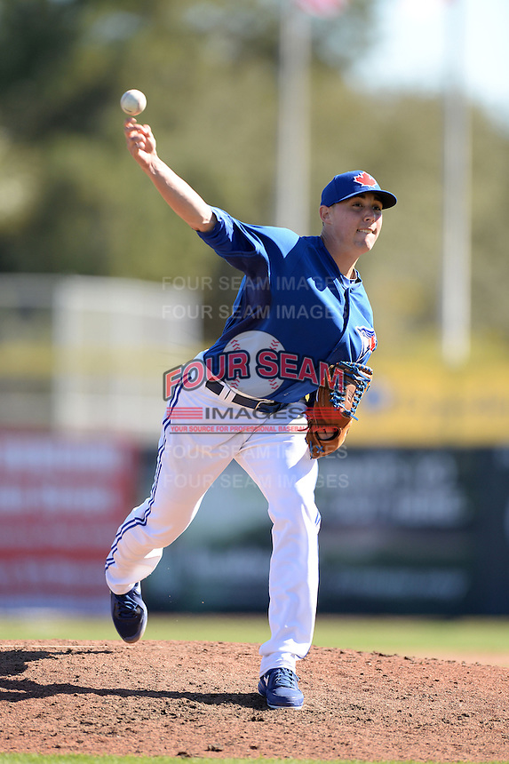 Toronto Blue Jays pitcher Aaron Sanchez (41) during a spring training game against the Pittsburgh Pirates on February 28, 2014 at Florida Auto Exchange Stadium in Dunedin, Florida.  Toronto defeated Pittsburgh 4-2.  (Mike Janes/Four Seam Images)