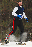 Madison's Paul Marcou runs the final snowshoe leg of the quadrathalon Sunday, 2/3/08, during the Badger State Winter Games.