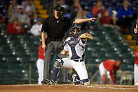 Umpire Greg Howard and Pitt Panthers catcher Manny Pazos (43) during a game against the Ohio State Buckeyes on February 20, 2016 at Holman Stadium at Historic Dodgertown in Vero Beach, Florida.  Ohio State defeated Pitt 11-8 in thirteen innings.  (Mike Janes/Four Seam Images)