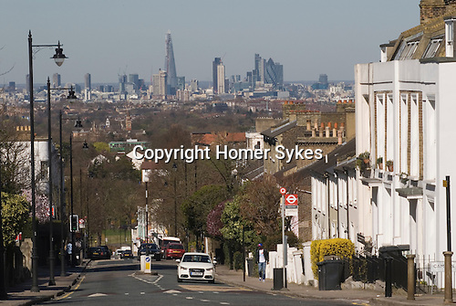 London Skyline. 2012 from Crystal Palace south London. The Shard building designed by architect Renzo Piano