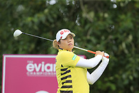 Ariya Jutanugarn (THA) tees off the 9th tee during Thursday's Round 1 of The Evian Championship 2018, held at the Evian Resort Golf Club, Evian-les-Bains, France. 13th September 2018.<br /> Picture: Eoin Clarke | Golffile<br /> <br /> <br /> All photos usage must carry mandatory copyright credit (© Golffile | Eoin Clarke)