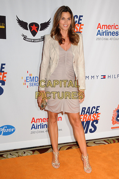 CINDY CRAWFORD  .18th Annual Race To Erase MS held at the Hyatt Regency Century Plaza Hotel, Century City, California, USA..April 29th, 2011.full length dress grey gray ruched  jacket blazer clutch bag sandals leather.CAP/ADM/BP.©Byron Purvis/AdMedia/Capital Pictures.