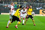 09.03.2019, Signal Iduna Park, Dortmund, GER, 1.FBL, Borussia Dortmund vs VfB Stuttgart, DFL REGULATIONS PROHIBIT ANY USE OF PHOTOGRAPHS AS IMAGE SEQUENCES AND/OR QUASI-VIDEO<br /> <br /> im Bild   picture shows:<br /> Andreas Beck (VfB Stuttgart #32) kl&auml;rt vor Achraf Hakimi (Borussia Dortmund #5), <br /> <br /> Foto &copy; nordphoto / Rauch