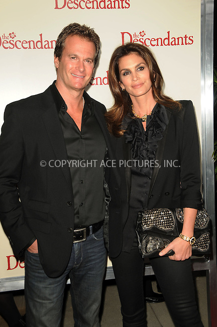 WWW.ACEPIXS.COM . . . . .  ....November 15 2011, LA....Rande Gerberand Cindy Crawford arriving at the premiere of 'The Descendants' at AMPAS Samuel Goldwyn Theater on November 15, 2011 in Beverly Hills, California.....Please byline: PETER WEST - ACE PICTURES.... *** ***..Ace Pictures, Inc:  ..Philip Vaughan (212) 243-8787 or (646) 679 0430..e-mail: info@acepixs.com..web: http://www.acepixs.com