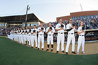 The Wake Forest Demon Deacons stand for the National Anthem prior to the game against the West Virginia Mountaineers in Game Four of the Winston-Salem Regional in the 2017 College World Series at David F. Couch Ballpark on June 3, 2017 in Winston-Salem, North Carolina.  The Demon Deacons walked-off the Mountaineers 4-3.  (Brian Westerholt/Four Seam Images)