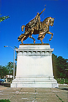 "St. Louis: Bronze Equestrian Statue, ""Apotheosis of St. Louis"", designed by Charles H. Niehaus but  executed by W.R. Hodges, 1906. Located in front of Art Museum in Forest Park.  Photo '77."