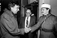 December 19, 1987 File Photo - Montreal, Quebec, CANADA -  Robert Bourassa, Quebec Premier (L) attend Sun Youth fundraiser pasta supper<br /> hosted by Sid Stevens<br /> , Sun Youth Director