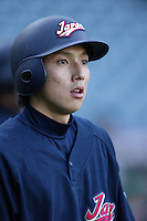 Munemori Kawasuki of Japan during World Baseball Championship at Angel Stadium in Anaheim,California on March 15, 2006. Photo by Larry Goren/Four Seam Images
