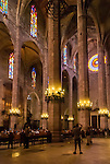 Inside the Le Seu Cathedral in Palma De Mallorca, Spain