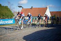 Niki Terpstra (NLD/Etixx-QuickStep) leads teammate Tom Boonen (BEL/Etixx-QuickStep) over the Varenstraat cobbles in the hopes catching the 2 men up ahead (Sagan &amp; Kwiatkowski)<br /> <br /> E3 - Harelbeke 2016