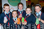 Pupils from Murhur NS Moyvane with their Newtown Candles they made for their Junior Entrepreneur project finals at the Malton Hotel on Wednesday l-r: Micheal Kissane, Ava fitzgerald, Claire Galvin, Orla Shine, and Aine Sheehy