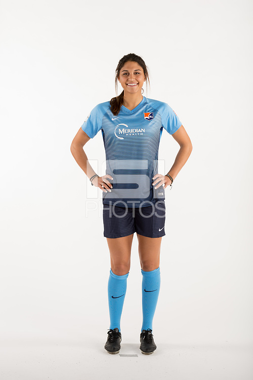Belmar, NJ - Wednesday March 29, 2017: Kim DeCesare poses for photos at the Sky Blue FC team photo day.