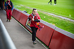 © Joel Goodman - 07973 332324 . 14/11/2015 . Manchester , UK . A boy runs around the outside of the pitch , ahead of the match . FC United host Gainsborough Trinity in the National League North at Broadhurst Park . NB requested changing room access three times and was denied three times . Photo credit : Joel Goodman