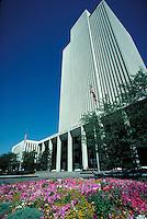 Latter Day Saints (Mormon) office building at Temple Square in Salt Lake City, Utah.  architecture, religions, Christianity,. Salt Lake City Utah.