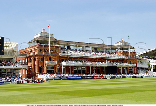 A general view of the pavillion at Lords Cricket Ground before the start of the match, England v South Africa, The NatWest Series Final, Lords Cricket Ground, 030712. Photo: Neil Tingle/Action Plus...2003.grounds venue venues.one day international internationals ODI