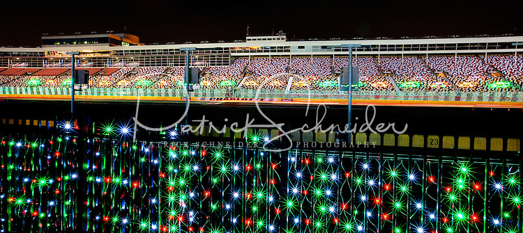 The Charlotte Motor Speedway (CMS) Carolina Christmas holiday event is one of the largest holiday light shows in the United States. This is part of the Boulevard of Lights event, in which more than 3 million LED lights glow along four miles at the speedway, where visitors can experience in-car LED light viewing. The annual holiday lights event includes visits with Santa, tours of Santa's Workshop, marshmallow roasting pits, a Festival of Trees and a realistic Bethlehem Village scene.