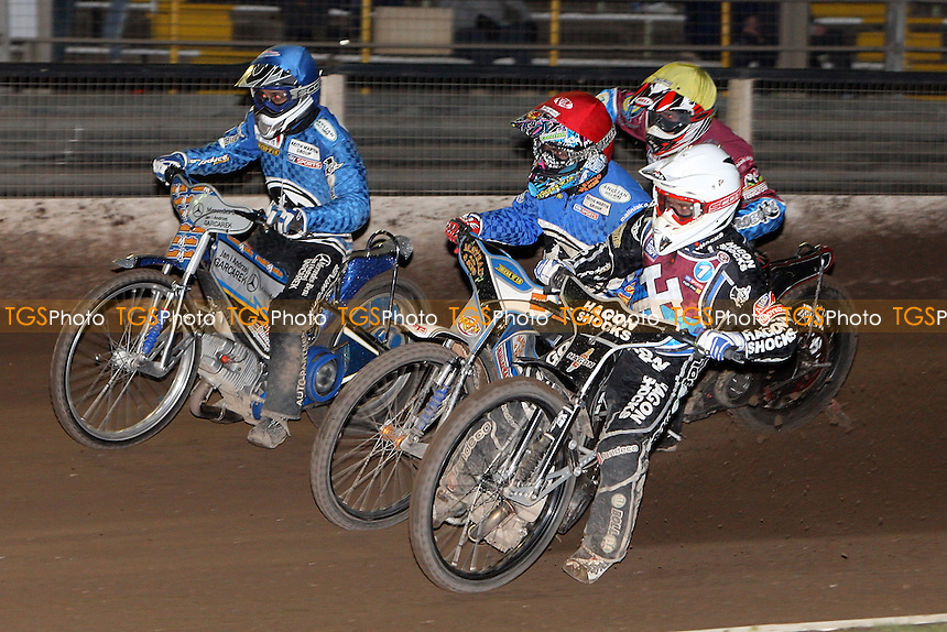 Heat 13: Richardson (white), Nicholls (red), Miskowiak (blue) and Shields - Ipswich Witches vs Lakeside Hammers - Sky Sports Elite League Speedway at Foxhall Stadium - 13/05/10 - MANDATORY CREDIT: Gavin Ellis/TGSPHOTO - Self billing applies where appropriate - Tel: 0845 094 6026