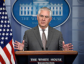 United States Secretary of State Rex Tillerson answers reporter's questions in the Brady Press Briefing Room of the White House in Washington, DC on Monday, November 20, 2017.  Secretary Tillerson took questions on the renewed designation of North Korea as a state sponsor of terrorism that was announced by President Donald J. Trump earlier in the day.<br /> Credit: Ron Sachs / CNP