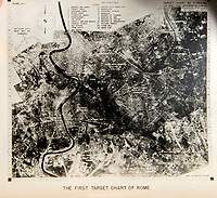 BNPS.co.uk (01202 558833)<br /> Pic: PhilYeomans/BNPS<br /> <br /> 'First target chart of Rome' - the Allies and Germans eventually agreed that the eternal city was to important to bomb.<br /> <br /> Unearthed - fascinating unseen archive of cameras, photographs, documents and medals from a British aerial reconnaisance expert who fought all the way through Africa and southern Europe in WW2.<br /> <br /> Flt Lt Eric Cooper from London kept all his wartime paraphernalia, including his K20 handheld camera and stereoscopic plotting instruments until his death in Devon aged 96 in 2012.<br /> <br /> The incredible photographs show bombing raids, amphibious landings and badly damaged aircraft alongside off duty snaps of the campaign throughout the mediterraenean.<br /> <br /> His nephew is now selling the compelling collection at Plymouth Auction Rooms in Devon next week.