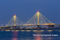 63895-15417 Clark Bridge at night over Mississippi River Alton, IL