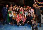 "Matt Allen with Christopher Ashley, Kelly Devine and cast members during the Actors' Equity Gypsy Robe Ceremony  honoring Matt Allen for ""Escape To Margaritaville"" at The Marquis Theatre on March 15, 2018 in New York City."