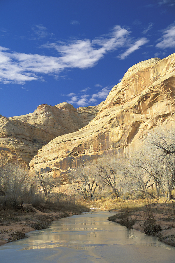 Frozen river (Barrier Creek), Horseshoe Canyon Unit, Maze District, Canyonlands National Park, Utah.