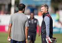James Hildreth of Somerset CCC in conversation with Ravi Bopara of Essex CCC prior to Essex Eagles vs Somerset, Vitality Blast T20 Cricket at The Cloudfm County Ground on 7th August 2019