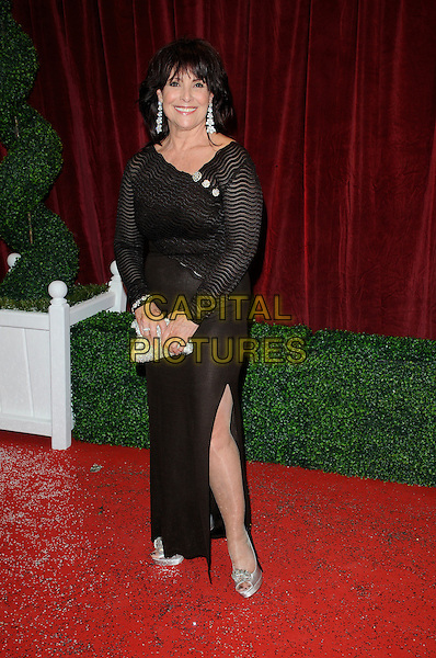 Diane Keen.Attending the British Soap Awards 2012.at the London Television Centre, London, England, UK, 28th April 2012..arrivals full length brown long maxi dress slit split buttons striped thing leg .CAP/CAN.©Can Nguyen/Capital Pictures.