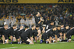 Carl Hayman leads the Kapa O Pango haka before the All Blacks v Australia Philips Tri Nations Test match. Eden Park, Auckland, New Zealand. Saturday 21 July 2007.