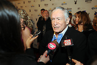 "Playboy Magazine founder Hugh Hefner talks with the media at Playboy's ninth annual ""Super Saturday Night""  party in at Playboy's Desert Oasis and Resort in Chandler, Arizona Saturday February 2, 2008.   (Photo by Alan Greth)"