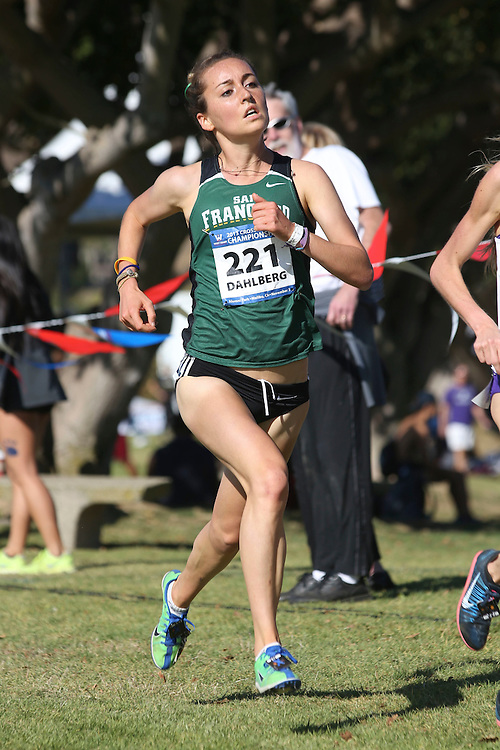 November 2, 2013; Malibu, CA, USA; San Francisco runner Bridget Dahlberg (221) during the WCC Cross Country Championship at Alumni Park.