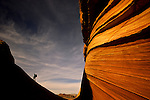 "A hiker climbs a ridgeline at ""The Wave"" sandstone formation in the Paria-Vermillion Cliffs Wilderness, Arizona."