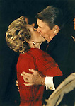 President and Nancy Reagan Kiss,