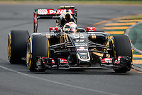 March 14, 2015: Pastor Maldonado (VEN) #13 from the Lotus F1 Team rounds turn two during qualification at the 2015 Australian Formula One Grand Prix at Albert Park, Melbourne, Australia. Photo Sydney Low