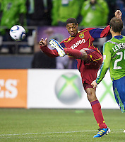 Real Salt Lake defender Chris Schuler clears the balls during play against the Seattle Sounders FC in a Major League Soccer Wester Conference Semifinal match at CenturyLink Field in Seattle Wednesday November 2, 2011. The Sounders won the match 2-0, but lost the series.