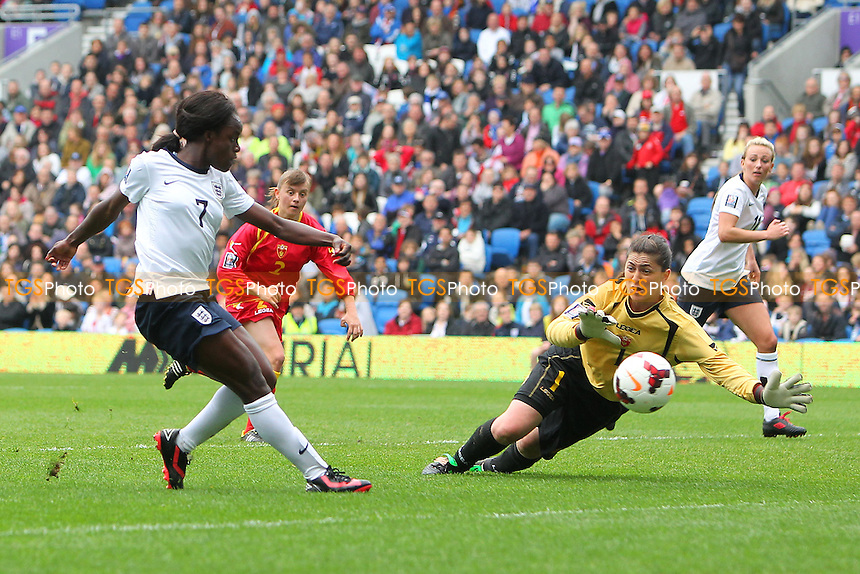 Eniola Aluko fires in a shot for England - England Women vs Montenegro Women - FIFA Womens World Cup 2015 Qualifying Group 6 Football at The Amex, Falmer Stadium, Brighton & Hove Albion FC - 05/04/14 - MANDATORY CREDIT: Gavin Ellis/TGSPHOTO - Self billing applies where appropriate - 0845 094 6026 - contact@tgsphoto.co.uk - NO UNPAID USE