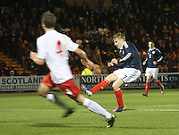 Stuart Armstrong shoots to score in the Scotland v Luxembourg UEFA Under 21 international qualifying match at St Mirren Park, Paisley on 6.9.12.
