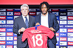 Atletico de Madrid president, Enrique Cerezo and Gerson Martins during his presentation as new Atletico de Madrid soccer player at Wanda Metropolitano in Madrid, Spain. July 09, 2018. (ALTERPHOTOS/Borja B.Hojas)