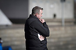 Home team manager Gary Jardine watching the first-half action at the Commonwealth Stadium at Meadowbank during the Scottish Lowland League match between Edinburgh City and city rivals Spartans, which was won by the hosts by 2-0. Edinburgh City were the 2014-15 league champions and progressed to a play-off to decide whether there would be a club promoted to the Scottish League for the first time in its history. The Commonwealth Stadium hosted Scottish League matches between 1974-95 when Meadowbank Thistle played there.