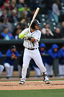 Third baseman Michael Paez (3) of the Columbia Fireflies bats in a game against the Lakewood BlueClaws on Friday, May 5, 2017, at Spirit Communications Park in Columbia, South Carolina. Lakewood won, 12-2. (Tom Priddy/Four Seam Images)